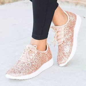 Wholesale Women New Casual Shoes Summer Glitter Bling Sneakers Woman Plus Size Sparkly Flat Bottom Sequined Shoes