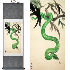 Green Snake Home Office Decoration Chinese Scroll Painting Snake Painting Snakeprinted Painting on Sale