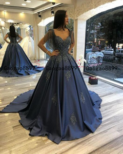 2020 gorgeous ball gown Evening Dresses with Lace Appliqued beaded custom made sweep train stain luxury Formal Prom Party Gowns custom made on Sale