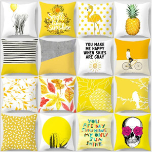 Pillow Case Yellow Geometric Pineapple Glitter Polyester Sofa Decorative Cushion Cover for Home Decor 45x45cm Yellow peach velvet pillow