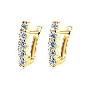 Wholesale Unique Designed Earrings Imitation Gold Plated Geometric Pattern Mosaic Zircon Clip-on & Screw Back Earring Fashionable Prom Gifts POTALA151