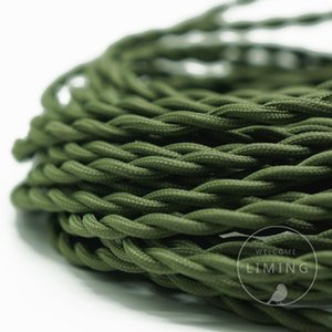 Wholesale meter roll Olive Green Color Fabric Twisted Wire Cord Vintage Fabric Electrical Wire Braided Lighting Cable