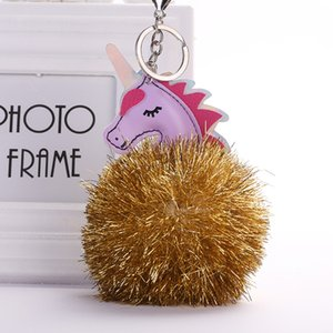 Wholesale Unicorn Key Chain Golden Bright Silk Ball Dog Pendant Sequined Bag Hanging Car Keychain MQ73