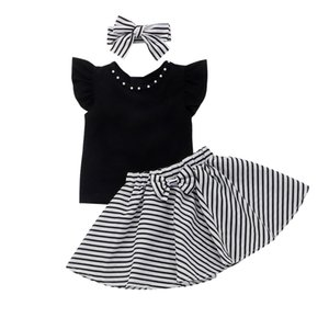 Wholesale 3Pcs Toddler Kids Girls Skirt Clothes Set Flare Sleeves Top Black Striped Skirt Bow Summer Clothes Set