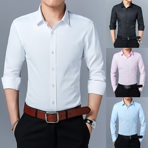 Wholesale Mens Long Sleeve Shirt Dress Up Professional Shirt Long Sleeve Mens White Slim Fit Solid Color Men Business Dress