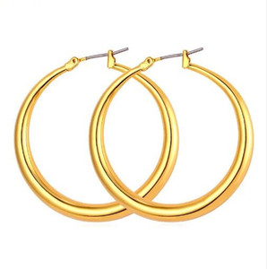Wholesale Trendy Big Size Style Large Hoop Earrings For Women Fashion K Real Gold Plated Basketball Wives Big Size Earrings E424