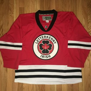 Wholesale Custom Canada Letterkenny Irish TV series Hockey Jersey Red Stitched Logos embroidered Customized Any Name and Number size S-6XL
