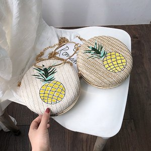 Fashion Pineapple Printed Straw Women's Messenger Bags Chic Chain Round Top-handle Women Handbags Hand-knit Circle Purses Clutch