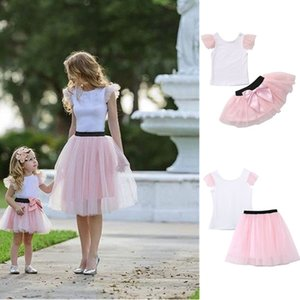 Stylish INS Designer Kids Girls summer parent-child outfits clothing suits Cotton baby Toddler Girl's Tull Splice Top and Bow Lace Skirt on Sale