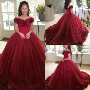 Wholesale Luxurious Puffy Formal Dresses Evening Wear Off Shoulder 3d Flowers Ball Gown Art Deco-inspired Neck Prom Dresses Free Shipping