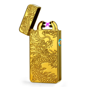 Plasma arc Lighter Double arcs Electrical USB Rechargeable windproof cigarette Lighter touch sensitive control ignition power display C03501