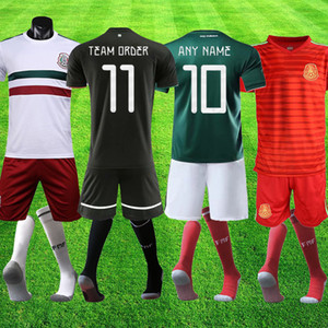 Wholesale Mexico black CHICHARITO H LOZANO Goalkeeper OCHOA Mexico team order Set Men Soccer GK Football Shirt Uniform shorts socks full kits