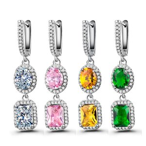 Wholesale fashion Luxurious earings pendants lowest price four colors diamond earrings with cubic zirconia for woman