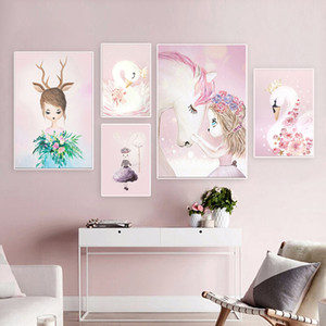 Wholesale canvas prints for kids room for sale - Group buy Pink Nursery Girl Flower Wall Art Canvas Painting Horse Swan Nordic Posters and Prints Wall Pictures for Living Room Kids Room
