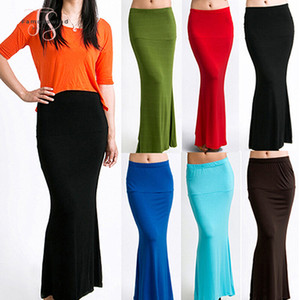 Wholesale Fashion Arrivalfshion Womens Long Solid Maxi Skirt Candy New Color Jersey Flared Summer Trumpet Mermaid Casual Good Quality Drop Shipping