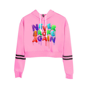 Wholesale girl' hoodie for sale - Group buy Never Broke Again High waist hoodie women Hot sale fashion girls Navel hoody popular casual tops