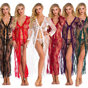 Lingerie for Women Sexy Long Lace Kimono Robe Eyelash Babydoll Sheer Cover Up Dress with Satin Belt