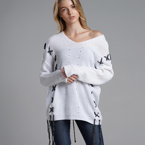 Wholesale 2019 Autumn Winter Sweater Casual Women Pullover V Neck Long Sleeve Solid Loose White String Jumper Drop Shipping