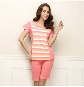 813c0fc1c YF304 summer new cotton stretch striped short-sleeved shorts pajamas set on  Sale