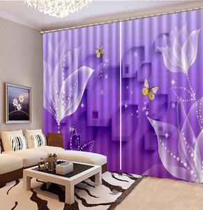 ingrosso tende viola bianche-Tenda all ingrosso Viola Dreamy Bright White Flowers D Floral Curtain Decoration Indoor Superior tende oscuranti