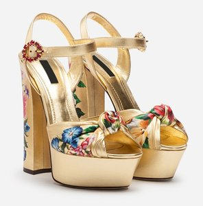 Wholesale Ladies diamond Pearl CM Chunky high heel peep toes European American palace Platform Print flower SANDALS SHOES Gold