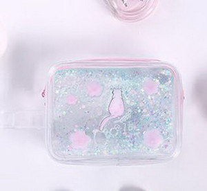 Lovely cartoon cat cosmetic bag into oil quicksand large capacity to receive cosmetic bag transparent pencil bag on Sale