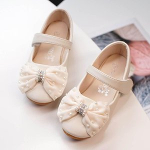 Wholesale New Fashion kids shoes pearl girls shoes bows princess kids designer shoes wedding Kids Dress Shoe high quality Girls Footwear