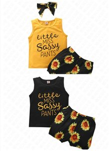 Wholesale girls short hairs resale online - Summer Girls Shorts Set Tank Vest and Sunflower Shorts Two Piece Clothing Set with Hairband Headband Hair Wrap Sports Casual Suit D62311