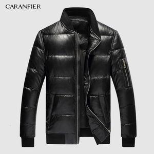 CARANFIER 2019 Mens Winter Warm Black Genuine Leather Real Lambskin Duck Down Bomber Jackets Coats Jaqueta De Couro Deri Ceket CJ191213