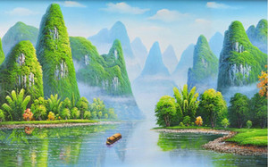 Wholesale hd wallpapers resale online - WDBH d room wallpaper custom photo Hand painted giant HD painting Guilin landscape home decor d wall murals wallpaper for walls d
