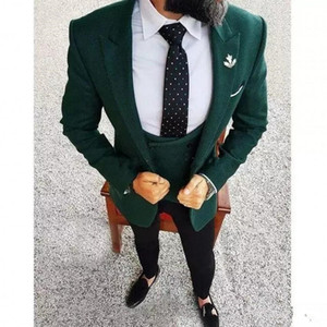 Wholesale New color Hot Recommend Dark hunter Green Groom Tuxedos Notch Lapel Men Blazer Prom Suit Business Suit Jacket Pants Vest Tie Kerchief
