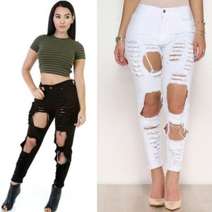 Wholesale 2019 Fashion Black White Jeans Pancil Pants Women High Waist Slim Hole Ripped Denim Jeans Casual Stretch Trousers Jeans Pants for Women