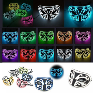 Wholesale EL Halloween Half Face LED Mask Fox Masks Luminous Ball Masquerade Party Eva Cold Light Cheer Props Decoration MMA2461A