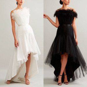 Wholesale Hi Lo Evening Dress Strapless Sleeveless Feather Tulle Girls Pageant Gowns Sexy Formal Prom Dress With Sashes