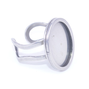Wholesale stainless steel oval ring blanks base settings x18mm blank cabochon ring bezel trays diy accessories for rings jewelry making