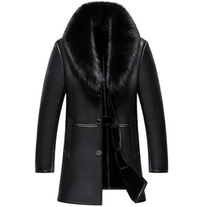 Wholesale Russian Winter Fox Fur Collar Leather Jacket Men New Business Casual Medium Long Windbreaker Coat Male Sheep Skin Jacket XL