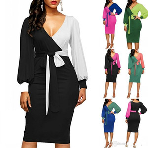 Wholesale Office Ladies Long Sleeves Loose Casual Sheath Pencil Dresses Women Summer Style V neck Panelle Bandage Bodycon Club Party Dress FS5537