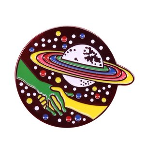 planetas saturno al por mayor-Planet Saturn Lapel Pin Galaxy Broche Joyería Amante del espacio Regalo Ciencia Broche Esmalte pin