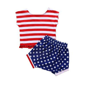Wholesale baby girl shirt patterns for sale - Group buy Hot Kids Cloth Independence Day Baby Girls Style Suit Children New Striped Fringe Sleeveless Shirt With Star Pattern Shorts Kids Clot