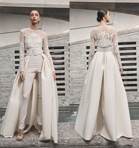 Wholesale jacket long train wedding dress for sale - Group buy Beach Wedding Dresses Women Jumpsuits With Detachable Skirt Satin Sweep Train Sweetheart Country Bridal Gowns With Jacket Long Sleeve