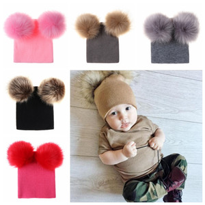 Wholesale Newborn Baby Kids Girls Boys Winter Warm Knit Hat Furry Balls Pompom Solid Warm Cute Lovely Beanie Cap Gifts