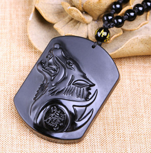 Wholesale Fashion Black Dragon Wolf Pendant Natural Hand carved Obsidian Necklace Fine Jade Statues Jewelry For Women Men Free Rope