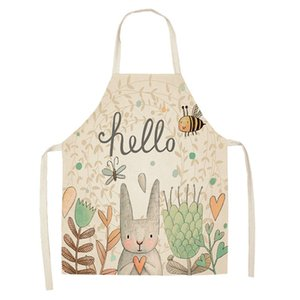 Wholesale 68x55cm Apron For Kitchen Clean Accessory Household Adult Cooking Baking Aprons Cute Rabbit pinafore Printed Apron DIY Practical Tools