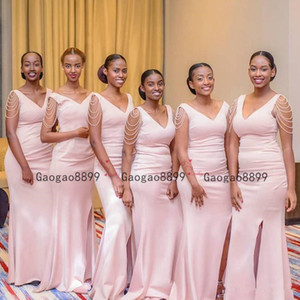 2020 sexy v neck Pink Pearls Mermiad Bridesmaid Dress Cheap Long split Wedding Guest Gown african Black Girl Prom Evening Party Gowns on Sale