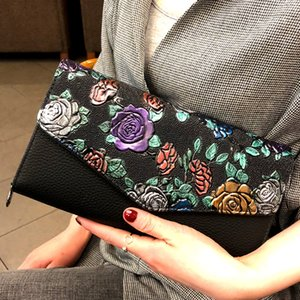 Wholesale National Style Clutch Bag PU Leather Embossing Flower Clutches Purse Envelope Bag Evening Bags Flap Shoulder Crossbody Messenger