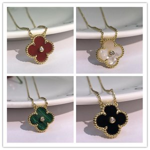 Wholesale 18k white gold diamond necklace for sale - Group buy 2019 Fashion Jewelry Necklace Black and White Red Green Four Leaf Flower Shell Agate Silver Necklace diamond clover Buckle