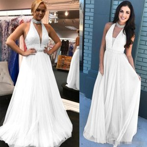 2019 Vintage White Women Evening Prom Dress Formal A Line High Neck Sequined Top Chiffon Long Party Dress LLF2099 on Sale