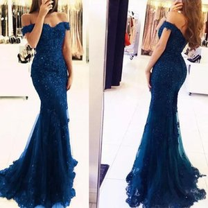 Wholesale Top Sale Off The Shoulder Mermaid Long Evening Dresses Tulle Appliques Beaded Custom Made Formal Evening Gowns Women Prom Party Wear 2019