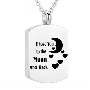 Wholesale moon shaped jewelry resale online - Urn Necklaces for Ashes I love You to the Moon and Back Cremation Jewelry for Ashes Necklace Square shape Pendant for Women Men