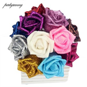 Wholesale 10PCS Foam Fake Flores PE Roses DIY Handmade cm Blue Gold Sequins Artificial Flowers for Wedding Valentine s Day Decoration